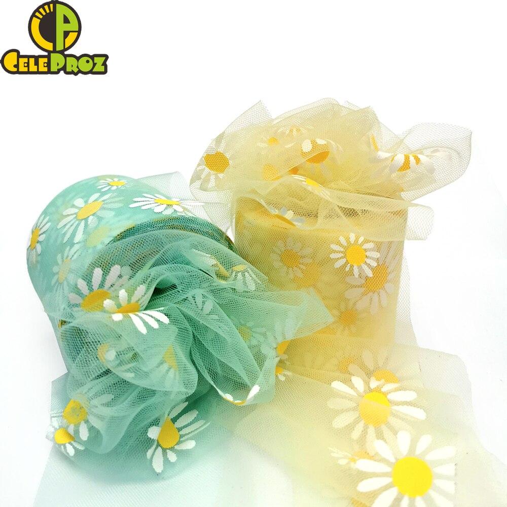 6 см цветок ромашки тюль лента рулон для DIY ручной работы ремесло украшение для волос украшение для выпечки Подсолнух печатная сетка материалы|Ленты|   | АлиЭкспресс