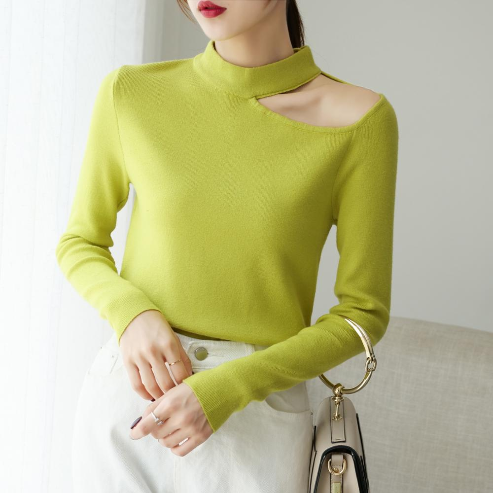 Sweater Clothing Women Pullovers O-Neck Long-Sleeve Pink Sexy Autumn Winter Off-Shoulder