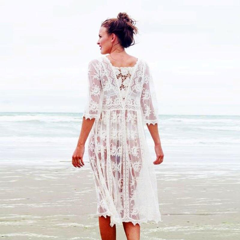 ZAFILLE Lace Beach Dress Long Sleeve Bikini Tunic Women Beach Cover Up Pareo Swimwear Beachwear Salidas De Playa Para Mujer 2019