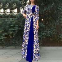 Fashion Dress Women Round Neck Empire Casual Ethnic Style Print 3/4 Sleeve Retro Dresses