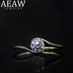 AEAW Moissanite pierścień dla kobiet zwięzłe 6.5mm 1.0 ct DF kolor okrągły Cut S925 10k 14k żółte złoty modna biżuteria zaręczynowa