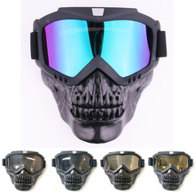 Cool skull motorcycle face Mask with Goggles Detachable modular Goggles Mask for Vintage open face Motorcycle Helmet Moto Casco
