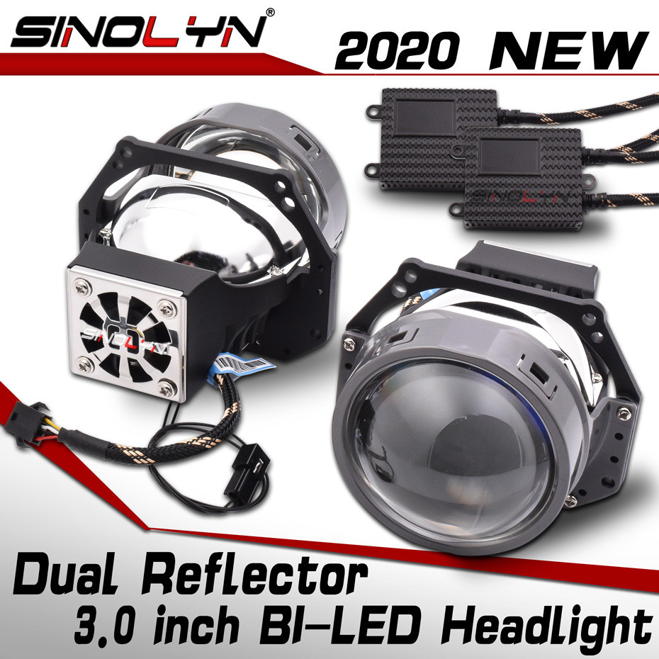 Sinolyn 55W Bi LED Lenses 3.0 Inches Angel Eyes Hella 3R G5 Projector LED Lens Kit In Headlight Car Styling Retrofit Accessories