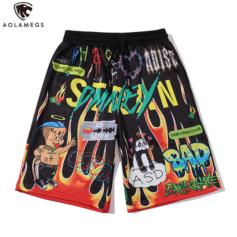 Aolamegs Shorts Men Cartoon Flame Graffiti Print Beach Knee-length Shorts Hip Hop Bermuda Style Elastic Waist High Street Summer
