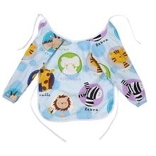 1 Pcs Cute Cartoon Baby Kids Toddler Long Sleeve Waterproof Art Smock Feeding Bib Apron Pocket