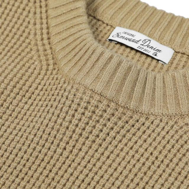 Waffle-Knit Sweater in solid colors