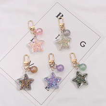 2019 Pentagram star Keychain Zinc Alloy Star Shaped Keychains Metal Keyrings Five Pointed Key chain  Women Pendant