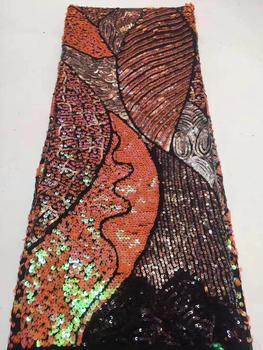 Venta caliente africano Multi colores lentejuelas tul francés telas de encaje bordado materiales de lujo para el vestido de boda de fiesta nigeriano