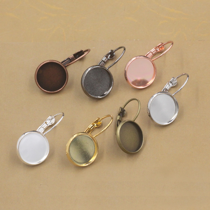 10pcs/lot 12mm Classic Color Series French Lever Back Earrings Base 8Color Cabochons Buttons Earring Bezels