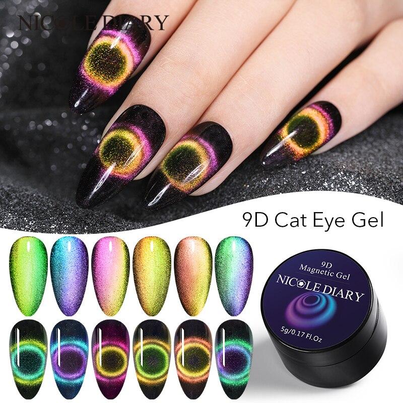 NICOLE DIARY 9D Chameleon Magnetic Gel Nail Polish Auroras Cat Eye UV Gel Polish 5ml Shining Laser Soak Off Nail Art Gel Lacquer