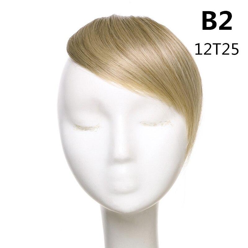 SARLA волосы челка клип в подметание боковая бахрома поддельные накладные взрыва натуральные синтетические волосы кусок волос черный коричневый B2 - Цвет: 12T25