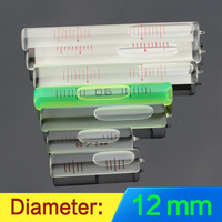 Diâmetro de nivelamento horizontal 12mm da tira da bolha do nível colunar do tubo de vidro das especificações múltiplas da elevada precisão