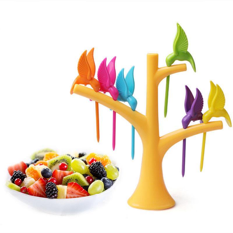 Food Picks For Kids Plastic Fruit Fork Tree Birds Dessert Fork Set Vegetable Food Cocktail Picks Tableware Food Decoration