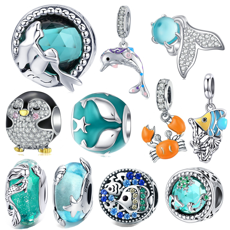 Starfish Crab Jewelry-Making Coral-Fish-Beads Charms Silver Pandora Bracelet Ocean Blue