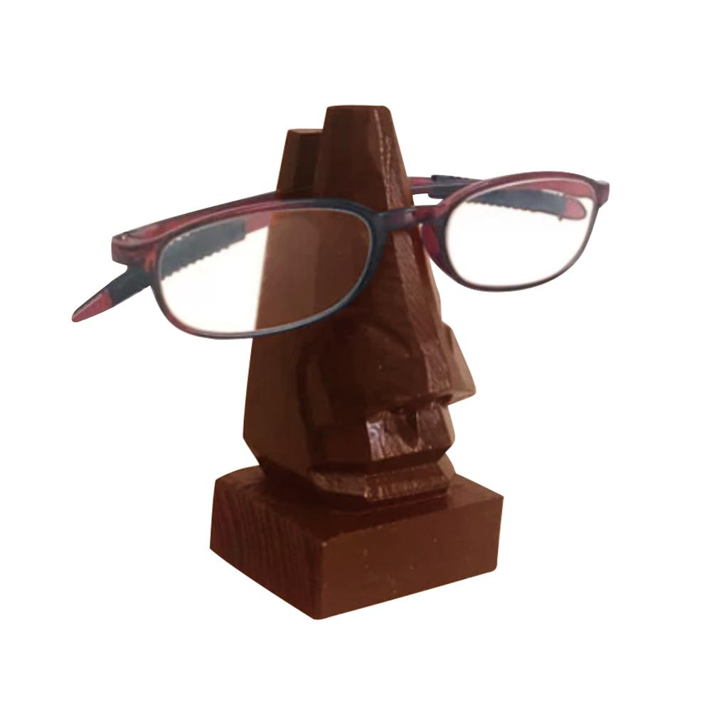 Handmade Wooden Glasses Storage Rack Carved Nose Shape Glasses Holder Table Ornaments Glasses Stand Base Wood Craft