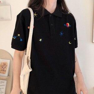 Image 5 - Kadın işlemeli üstleri yaka aşağı kore Polo kısa kollu T shirt T Shirt grafik baskı Tees gömlek büyük boy moda şık