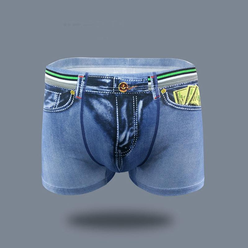 Male Fashion Underwear 3D Print Man Home Comfortable Pocket Underpants Man Denim Boxer Sexy Denim Panties