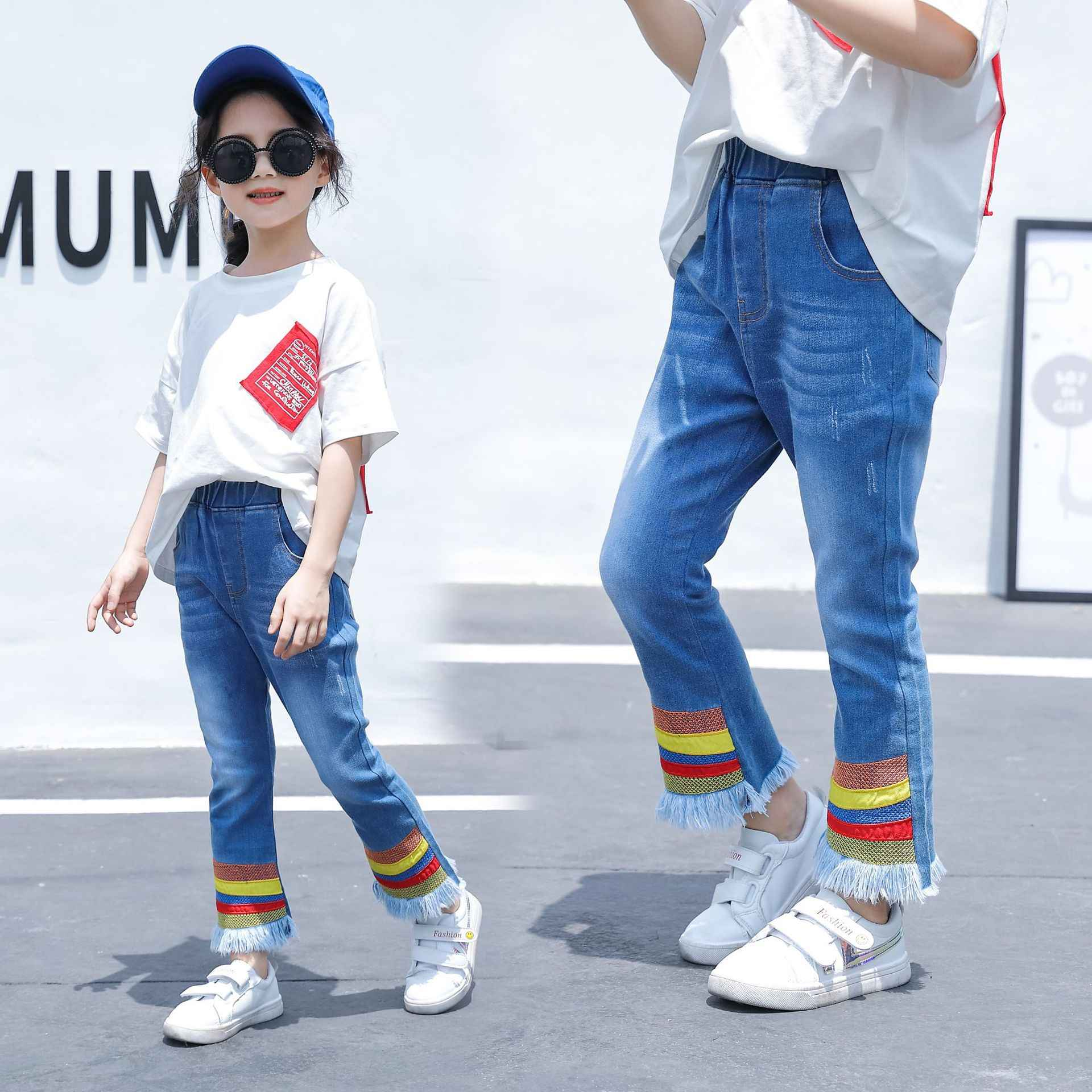 Onegame Teenager Girls Jeans Color stripes Small flared Denim Pants Kids Casual Jeans roupa infantil menina Size 8 9 12 13 years