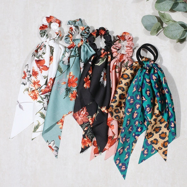 Floral Print Bow Satin Long Ribbon Ponytail Scarf Hair Tie Scrunchies Women Girls Elastic Hair Bands Hair Accessories 5