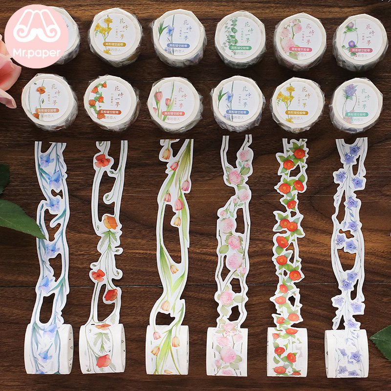 Mr Paper 12 Designs Creative Hollow-caved Blossom Flowers Bullet Journaling Washi Tapes Deco Stickers Scrapbooking Masking Tapes