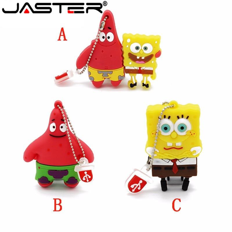 JASTER Cartoon 64GB Cute SpongeBob USB Flash Drive 4GB 8GB 16GB 32GB Pendrive USB 2.0 Usb Stick