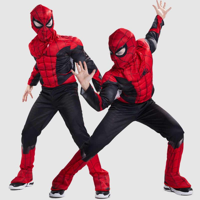 Los Vengadores niños superhéroe spiderman Capitán América iron man Pantera cosplay de Thor Muscle ropa disfraz de Halloween para niños