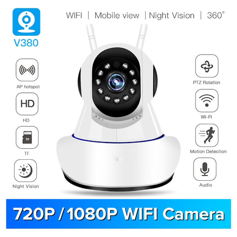 V380 1080P IP NETWORK WIFI HD SECURITY CCTV CAMERA 355 Degree PTZ IR-CUT IP ROBOT3  SD H.264 Wireless IP Camera Supports 64GB