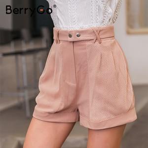 Image 2 - BerryGo Casualสีชมพูผู้หญิงกางเกงขาสั้นเอวสูงHollow Outกางเกงขาสั้นผ้าฝ้าย 2020 ฤดูใบไม้ผลิฤดูร้อนสั้นกางเกงขาสั้นเซ็กซี่