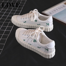 Female Casual flats shoes woman sneakers 2019 fashion solid breathable canvas women lace-up flat with