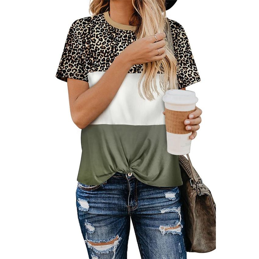 Женская футболка с леопардовым принтом, Повседневная футболка с коротким рукавом, новинка 2020