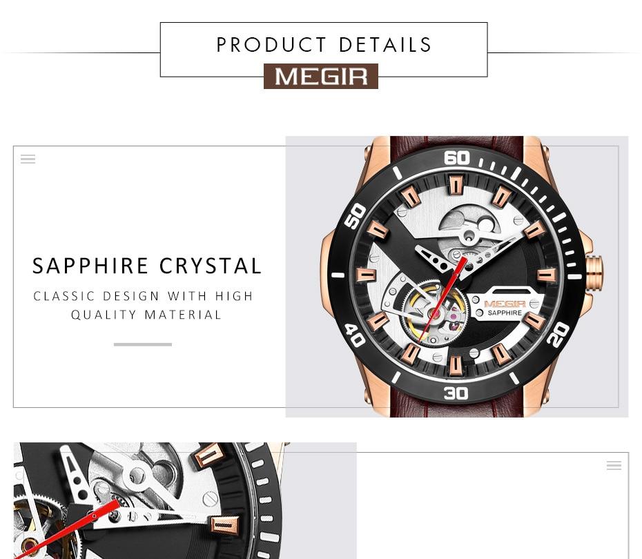 Hc8ec7a9b47644f9296223c24eec89334S MEGIR Men Mechanical Wristwatches Leather Strap Automatic Mechanical