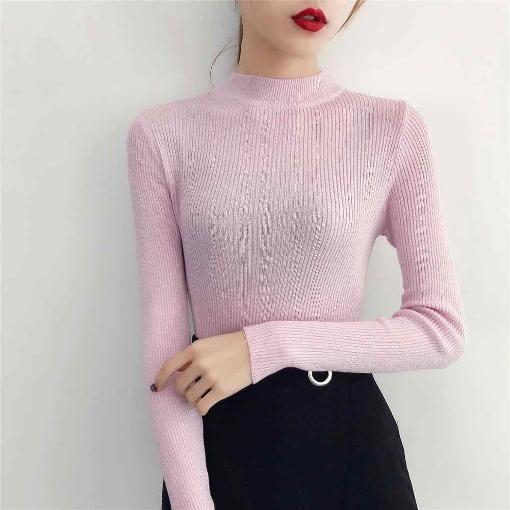 새로운 가을 겨울 부드러운 밝은 실크 따뜻한 스웨터 여성 우아한 절반 높은 칼라 여성 니트 풀오버 탄성 슬림 기본 스웨터