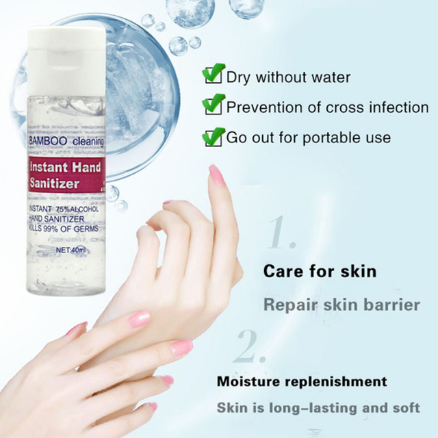 3PC Free Hand Sanitizer 30ml/40ml Gel 75% Alcohol Mild Quick Drying Remover Portable Daily Cleaner Cleaning Health Care 1