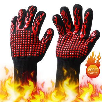 Ochronny sprzęt grillowanie rękawice Food Grade żaroodporne silikonowe kuchnia grill rękawica gotowanie BBQ Mitt rękawice kuchenne tanie i dobre opinie Materiał kompozytowy Grilling Gloves Protective Gloves