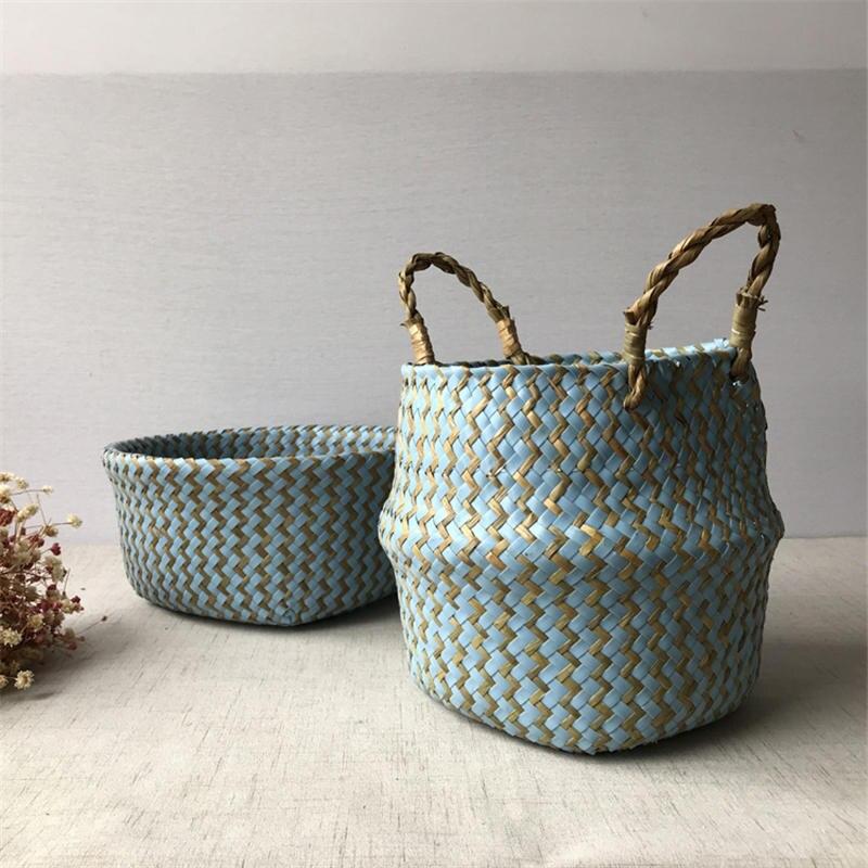 2019 Foldable Handmade Seagrass Storage Basket Wicker Rattan Belly Straw Garden Flower Pot Wave Pattern Planter Clothes Basket