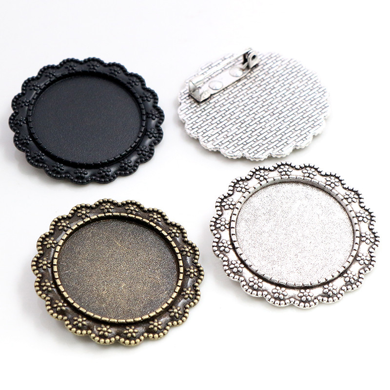 New Fashion 5pcs 25mm Inner Size Black Antique Silver Plated Black Brooch Fashion Cabochon Base Setting