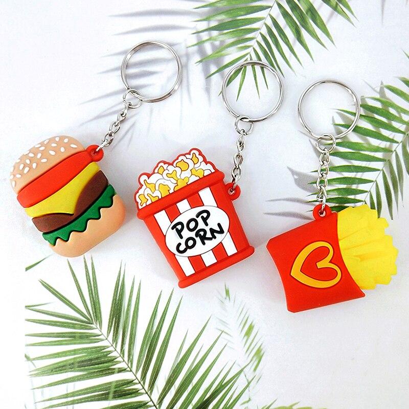 New PVC Food Keychain Pendant Burger Popcorn Fries Bag Car Key Accessories