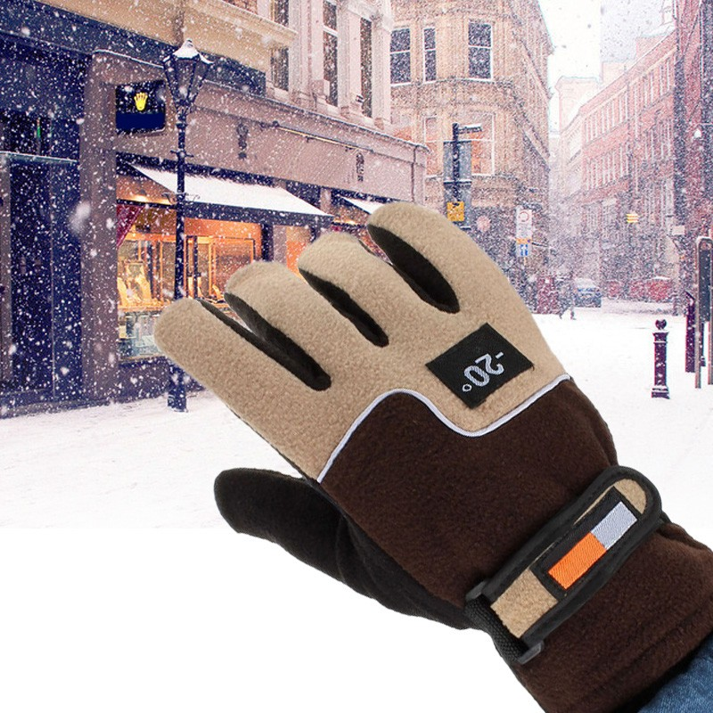 Cold-proof Unisex Winter Gloves Ski Gloves Cycling Riding Fluff Warm Gloves Cold Weather Anti Slip Full Finger Gloves D40