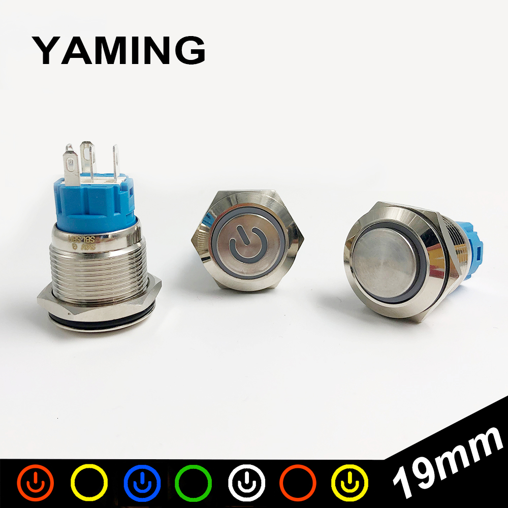 <font><b>19mm</b></font> Metal Push Button Micro <font><b>Switch</b></font> <font><b>LED</b></font> Lamp Momentary/self-locking Waterproof IP65 Latching Maintained Car Auto Engine PC Power image