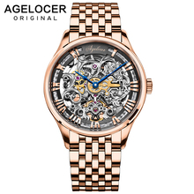 AGELOCER Swiss Movement Luxury Design Transparent Fashion Gold Bracelet Blue Hands Men Mechanical Skeleton Wrist Watches