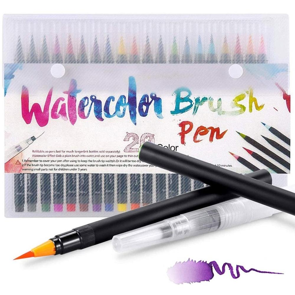 20 color Watercolor Brush pen set plus 1 coloring pen Easy washable drawing painting Calligraphy Lettering Art Kids gift F901