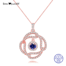 Shipei 100% 925 Sterling Silve Rose Gold White Round Sapphire Emerald Ruby Geometric Necklace for Women Birthday Gift
