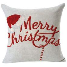 Vintage Impresión de Navidad sofá cama decoración para cafetería o casa funda de Cojín cuadrado funda de algodón cremallera invisible de lino (45cm x 45 cm) (J