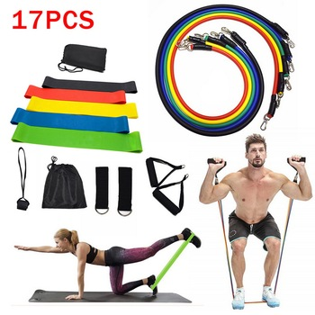17Pcs/Set Latex Resistance Bands Gym Door Anchor Ankle Straps With Bag Kit Set Yoga Exercise Fitness Band Rubber Loop Tube Bands resistance band 11pc set with door anchor ankle straps foam handles