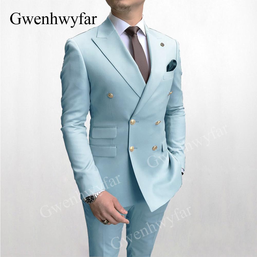 Gwenhwyfar Sky Blue Men Suits Double Breasted 2020 Latest Design Gold Button Groom Wedding Tuxedos Best Costume Homme 2 Pieces