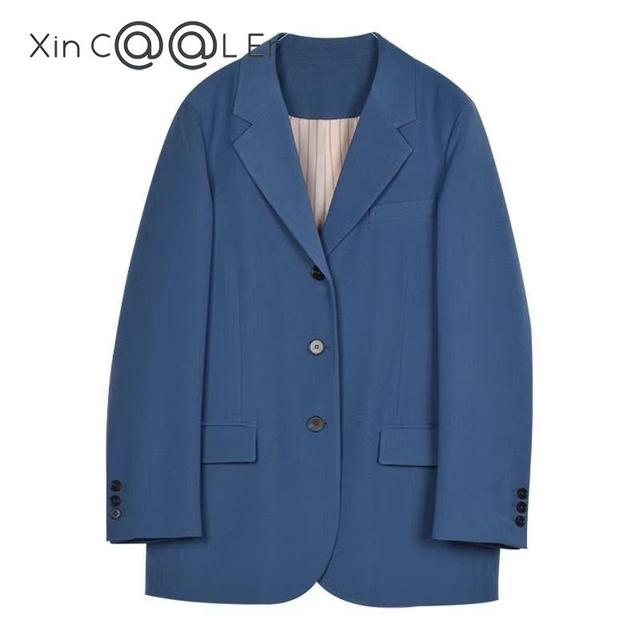 2021 Fashion Spring Autumn New Elegant Office Ladies Loose Single-breasted Blazer Women Solid Collar Suit Jackets Outwear Blue 1