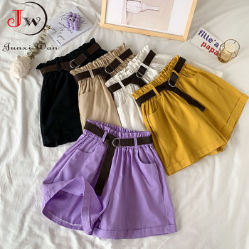 2021 Summer Elegant High Waist Shorts Women Casual Solid Wide Leg Loose Cotton Short Pants With Belt Korean Sweet Girls 1