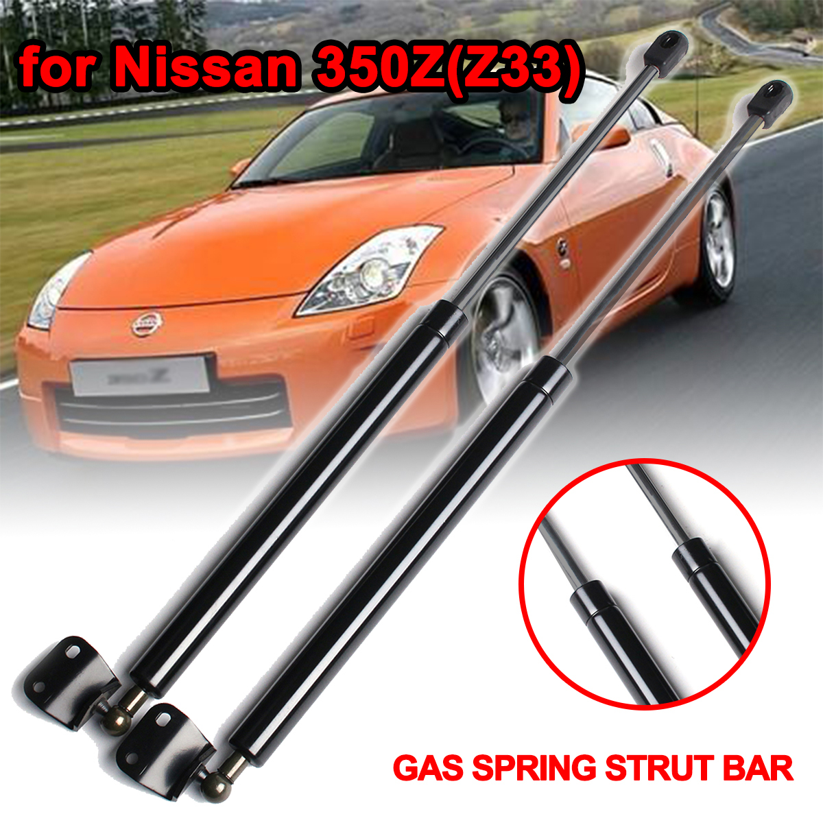 2 x Car Rear Tailgate Gas Strut Bars Trunk Support With Spoiler Car Accessories Strut Bars GS90453 For Nissan 350Z Z33 2003-2008 image