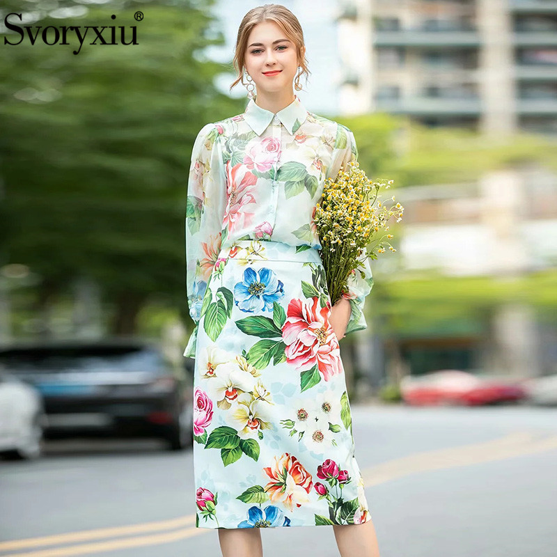 Svoryxiu Fashion Women's Summer Runway Skirt Suit Flare Sleeve Flower Print Chiffon Blouse + High Waist Skirt Two Piece Set