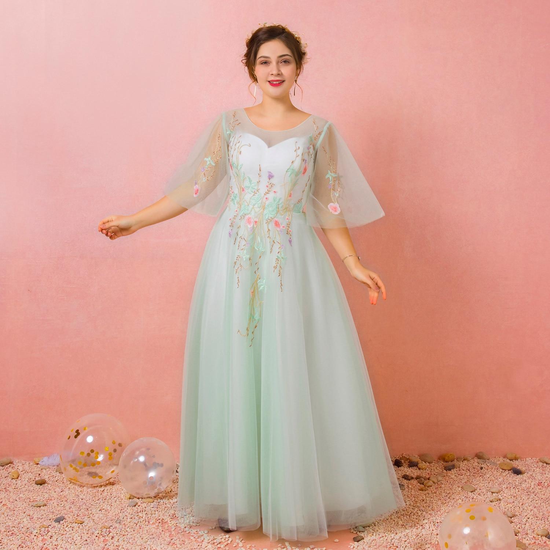 A-Line Floral Plus Größe Prom Formale Abendkleid Jewel Ansatz Halbe Hülse Bodenlangen Spitze Satin Tüll mit Falten Stickerei